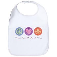 Peace Love & Mardi Gras Bib