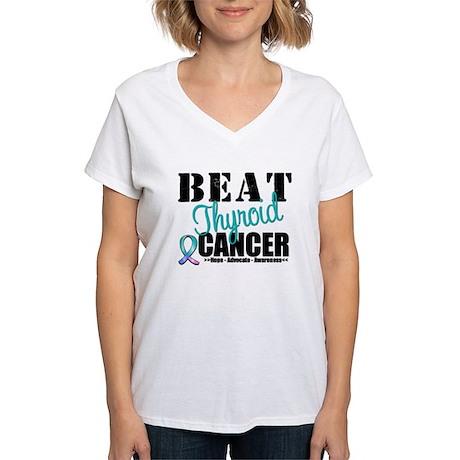 Beat Thyroid Cancer Women's V-Neck T-Shirt