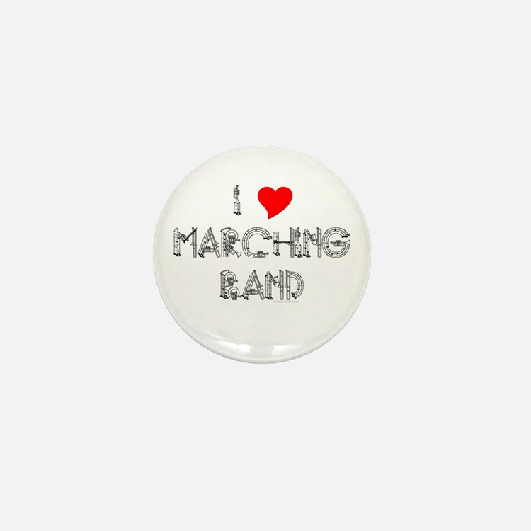 I Love Marching Band Mini Button