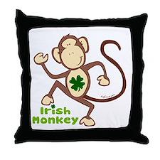 Shamrock Irish Monkey Throw Pillow