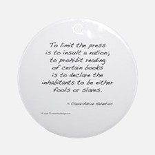 Helvetius on Books Ornament (Round)