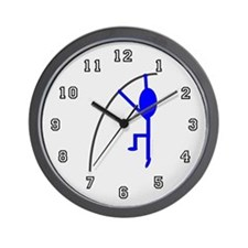 Blue Pole Vaulter Wall Clock