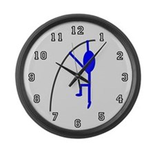 Blue Pole Vaulter Large Wall Clock