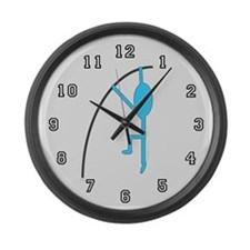 Sky Blue Pole Vaulter Large Wall Clock
