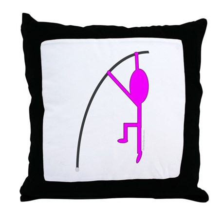 Pink Pole Vaulter Throw Pillow