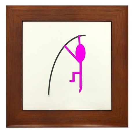 Pink Pole Vaulter Framed Tile