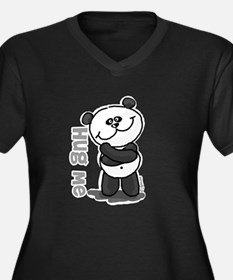 Hug Me Panda Women's Plus Size V-Neck Dark T-Shirt
