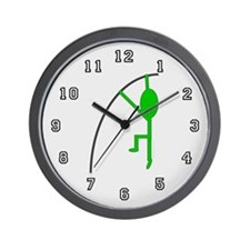 Green Pole Vaulter Wall Clock