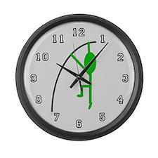 Green Pole Vaulter Large Wall Clock