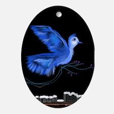 Blue CityBird Pendant /  Oval Ornament