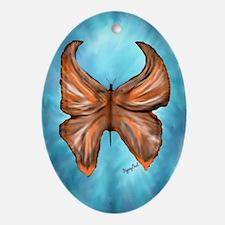 Orange Butterfly Pendant /  Oval Ornament
