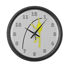 Yellow Pole Vaulter Large Wall Clock