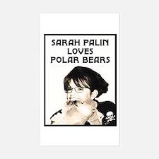 Sarah Palin Loves Polar Bears Rectangle Decal