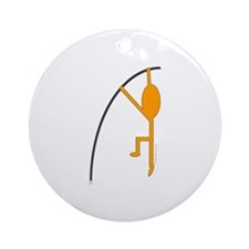 Orange Pole Vaulter Ornament (Round)