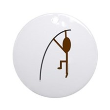 Brown Pole Vaulter Ornament (Round)