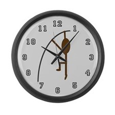 Brown Pole Vaulter Large Wall Clock
