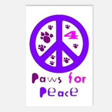 Paws for Peace Purple Postcards (Package of 8)