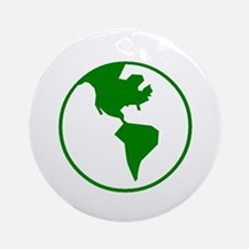 Green Earth On White Ornament (Round)