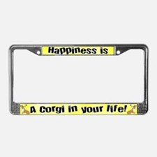 Happiness is a Corgi License Plate Frame
