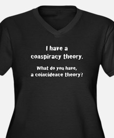 Conspiracy Theory Women's Plus Size V-Neck Dark T-