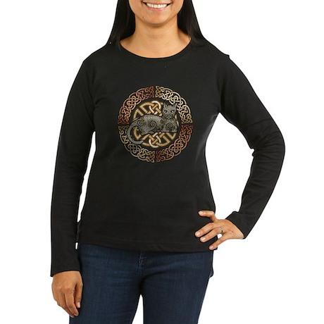 Celtic Cat Women's Long Sleeve Dark T-Shirt