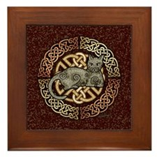 Celtic Cat Framed Tile
