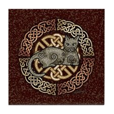 Celtic Cat Tile Coaster