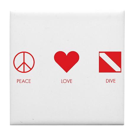 Peace Love Dive Tile Coaster
