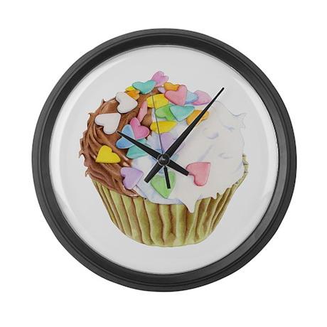 Cupcake Hearts Large Wall Clock