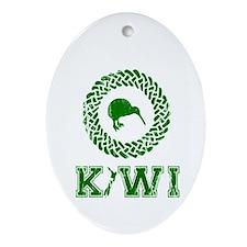 Green New Zealand Kiwi Oval Ornament