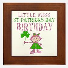 Little Miss St. Patrick's Day Birthday Framed Tile