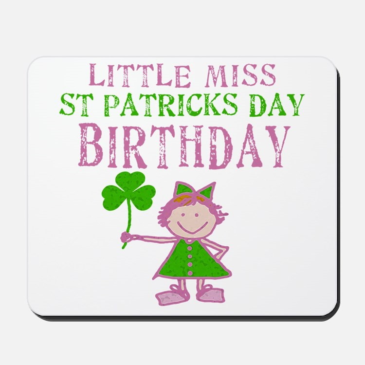 Little Miss St. Patrick's Day Birthday Mousepad