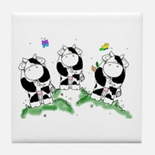 Cows and butterflies Tile Coaster
