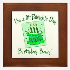 St Patricks Day Birthday Baby Framed Tile