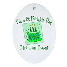 St Patricks Day Birthday Baby Ornament (Oval)