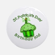 St Patricks Day Birthday Kid Ornament (Round)