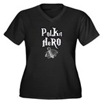 Polka Hero Women's Plus Size V-Neck Dark T-Shirt