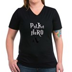 Polka Hero Women's V-Neck Dark T-Shirt