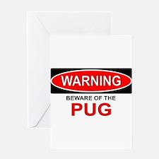 Beware Pug Greeting Card