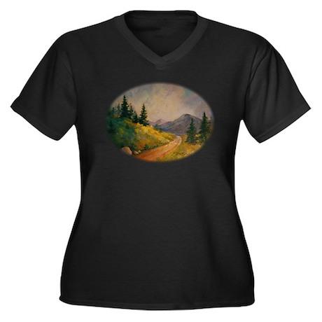 Mountain Road Women's Plus Size V-Neck Dark T-Shir