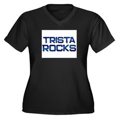 trista rocks Women's Plus Size V-Neck Dark T-Shirt
