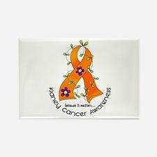 Flower Ribbon KIDNEY CANCER Rectangle Magnet