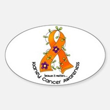 Flower Ribbon KIDNEY CANCER Oval Decal