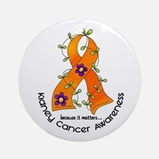 Flower Ribbon KIDNEY CANCER Ornament (Round)