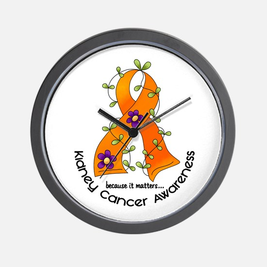 Flower Ribbon KIDNEY CANCER Wall Clock