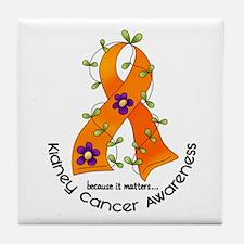 Flower Ribbon KIDNEY CANCER Tile Coaster
