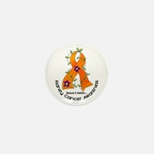 Flower Ribbon KIDNEY CANCER Mini Button (10 pack)