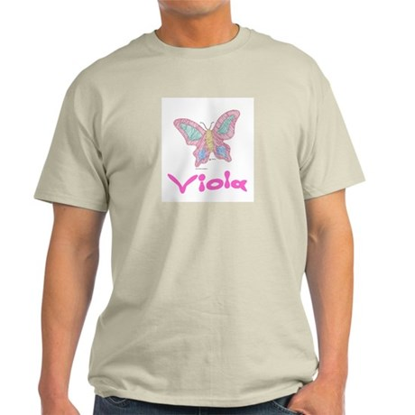 Pink Butterfly Viola Ash Grey T-Shirt