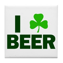 I Shamrock Beer Tile Coaster