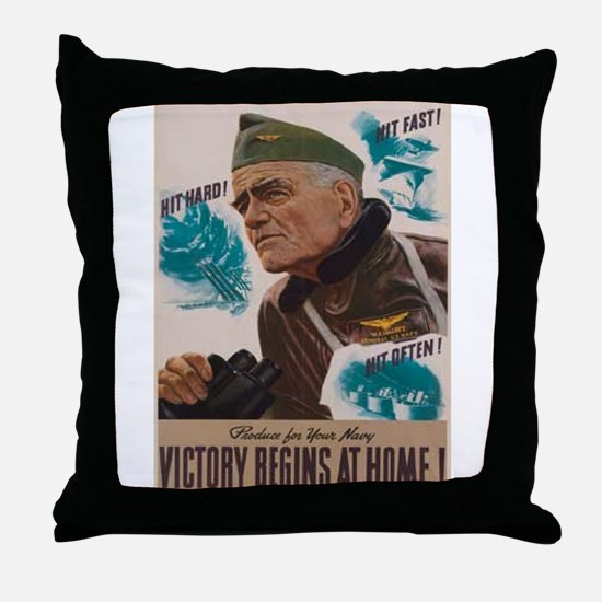 Victory Begins at Home! Throw Pillow